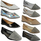 NEW WOMENS LADIES GIRLS SPARKLY FLAT SLIP ON FASHION PUMPS SHOES FLATS SIZE 3-8