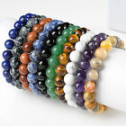 10mm Natural Gemstone Agate Turquoise Beads Ball Bracelet Stretchy Bangle Gift