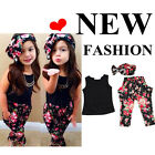 Floral Baby Kids Girl Sleeveless Summer Sets Top+Pants+Scarf 3 Pcs Suit Outfit