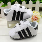 Baby Boy Black & White Velcro Sneaker Toddler shoes Size 3-6 6-12 12-18 Months/V