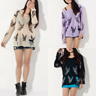 Womens Butterfly Print Frayed Distressed Hole Jumper Knitwear Knitted Sweater