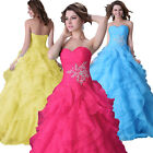 2015 Plus Size Sexy Formal Beaded Long Prom Bridal Evening Gown Wedding Dresses