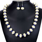 Vintage Lapis Lazuli & Pearl 925 Sterling Silver Necklace & Earrings Set Jewelry