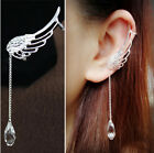 Angel Wing Crystal Silver Plated Earrings Drop Dangle Ear Stud Cuff Clip 1 Pair