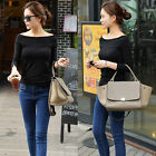 Women's Cotton Tops Stretch Slim T-shirt Casual Tee Off Shoulder Clubwear Blouse