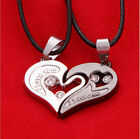 Men Women Stainless Steel Lover Couple Necklace I Love You Heart Pendant Gift H