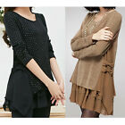 Women Long Sleeve Loose Tunic Day Shift Casual Party Cocktail Sweater Mini Dress