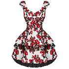 New Ladies White Pink Floral Retro Vintage 50s Swing Party Prom Tea Dress