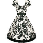 New Ladies White Floral Retro Vintage 50s Style Swing Party Prom Dress