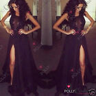 Womens Black Maxi Lace Pageant Evening Gown Prom Cocktail Party Bodycon Dress