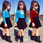 New Children Baby Girls Red Blue Lace Floral Tops and Skirt Clothes Sets 2pcs