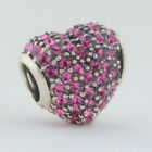 Sterling Silver 925 European Charm Pink Pave Heart Bead 99165