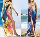 Sheer Blue or Yellow FLORAL Chiffon BEACH WRAP! Swimsuit Cover-Up Sarong 40849