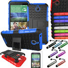 For HTC Desire 510 Armor Rugged Hybrid Shockproof Hard Stand Case Cover + Film
