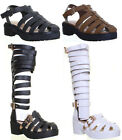 Womens Block Heel Knee High Gladiator Sandal Ladies  Shoes Size 3 4 5 6 7 8