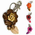Leather Rose Floral, Flower Bag Charm, Keychain, Key Ring fia1