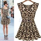 Fashion Sexy Ladies Women Leopard Evening Cocktail Party Mini Dress Summer Dress