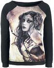 Alchemy Gothic Requiem for a Rose Lady Printed Black Long Sleeved Sweater