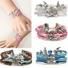 Fashion Steampunk Silver Tree Birds Infinity Charms Black Leather Wrap Bracelet