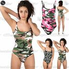 Womens Ladies Slim Strappy Camisole Bodysuit Leotard Unitard Camo Print Vest Top