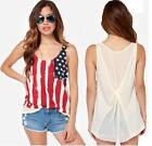Stylish Womens American US Flag Printed Slim Sleeveless Blouse Sexy Vest Shirts