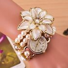 Women Faux Pearl Rhinestone Jasmine Crystal Bracelet Bangle Dress Wrist Watch