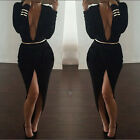 Women Sexy Long Sleeve Slim Bodycon Split Club Dress Long Cocktail Party Dress