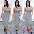 Womens Sexy Celebrity Summer Party Grey Cut out Midi Knit Bodycon Cut Out Dress