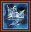 WHALE TAILS 14 COUNT CROSS STITCH CHART (DMC THREADS) FREE PP WORLDWIDE