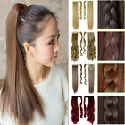 Velcro Strap Ponytail Long Staight Synthetic Human Hair Extensions Hairpiece 3U1
