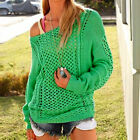 AJOUR Vintage-Look Oversized Sommer Pullover Lochmuster BLAU GRÜN MELONE