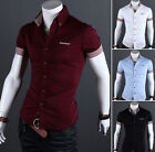 Elegant Men's Comfort Casual Slim Fit Dress T Shirt Short Sleeve Shirts CA LA