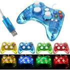 USB Glow LED Wired Controller Flashing Gamepad Handle Fit For Microsoft XBOX 360