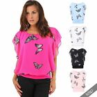 Womens Butterfly Animal Print Chiffon Loose Baggy Thin Top Blouse Party 2 in 1