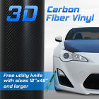 3D Real Black Carbon Fiber Twill Vinyl Wrap Roll Bubble Free Air Release