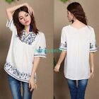White Women Embroidered Floral Peasant Tunic Boho Gypsy People Top Blouse Tops
