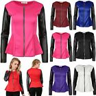 Womens Ladies Pvc Wetlook Sleeves Frill Zip Peplum Tailored Blazer Jacket Coat