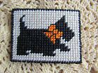Handmade Plastic Canvas Cross Stitch Design Scottie Dog with Bow Magnet ~ New