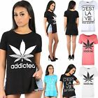 Womens Ladies Side Slit Addicted Cest LA VIE Slogan Print Cap Sleeve T Shirt Top