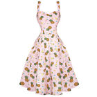 Womens Pink Tropical Rockabilly 50s Vintage Pinup Flared Summer Party Dress