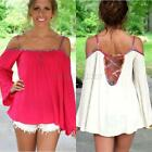 Hot Women's Loose Tops Spaghetti Strap Off-Shoulder Long Sleeve Blouse Dress B33