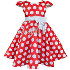 New Girls Baby Toddler Infant Clothes Short Sleeve Polka Dot Party Dress SZ 2T-7