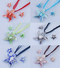 Fashion Design Women Twisted Sea Star Glaze Glass Pendant Necklace Earrings Sets