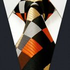 S4 Extra Long Size Checked Mens Tie Silk Wedding Design Handmade Jacquard Woven