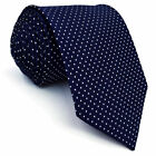 S6 Men's Necktie Dots Blue Navy 100% Silk Classic Extra Long Size Fashion