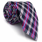 S14 Men's Tie Plaids Purple Fuchsia Extra Long Size Silk Wedding Plaids Checkes