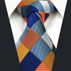 S17 Mens Tie Extra Long Size Multi-color Checks Wedding Geometric Jacquard Weave