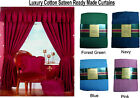 Pair of Curtains Luxury 100% Cotton Thermal Lined Sateen Wine Blue Green Pink