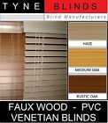 50mm slat - FAUX WOOD with cords - PVC Venetian Blinds - wood effect blinds