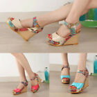 Fashion Ankle Strap Pumps Floral Printed High Heel Wedges Peep Toe Sandals Shoes